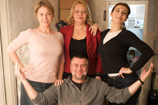 Rajko Grlić, Nataša Dorčić, Ksenija Marinković and Daria Lorenci on the set of 'Just Between Us'